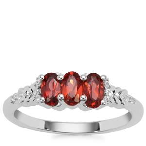 Rajasthan Garnet Ring with White Zircon in Sterling Silver 0.93ct