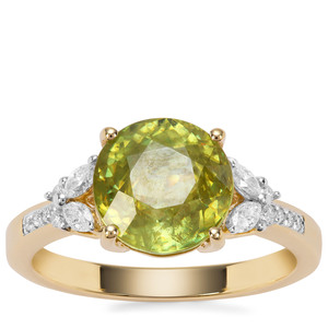 Ambilobe Sphene Ring with Diamond in 18K Gold 3.81cts