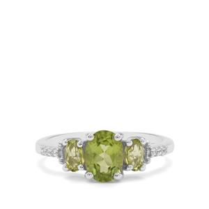 Red Dragon Peridot & White Zircon Sterling Silver Ring ATGW 1.78cts
