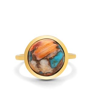 Oyster Copper Mojave Turquoise Ring in Gold Plated Sterling Silver 6.25cts