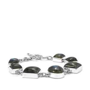 61ct Labradorite Sterling Silver Aryonna Bracelet