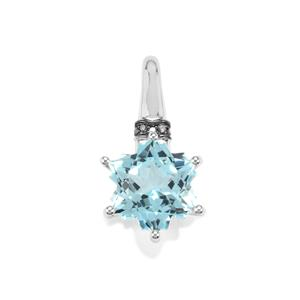Sky Blue Topaz & Blue Diamond 9K White Gold Wobito Snowflake Pendant ATGW 5.78cts