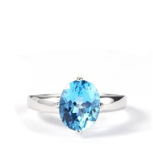 3.04ct Swiss Blue Topaz Sterling Silver Ring