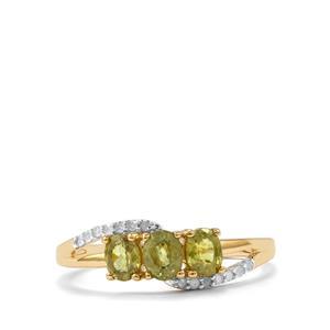 Ambanja Demantoid Garnet & Diamond 9K Gold Ring ATGW 1.07cts