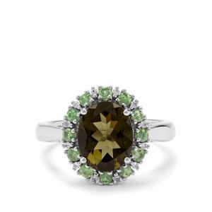 Moldavite,Tsavorite Garnet  & White Zircon Sterling Silver Ring ATGW 2.66cts