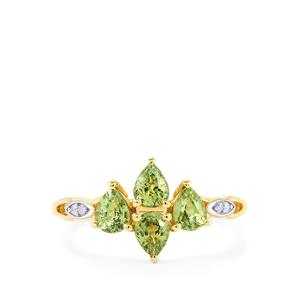 Ambanja Demantoid Garnet & Diamond 9K Gold Ring ATGW 1.23cts