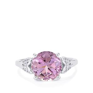 Lone Star Rose De France Amethyst Ring with White Topaz in Sterling Silver 3.96cts