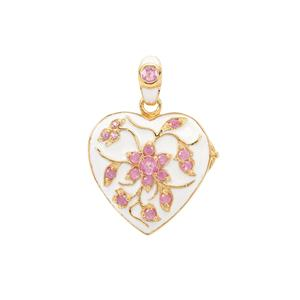 Pink Sapphire Locket in Gold Plated Sterling Silver 0.70ct