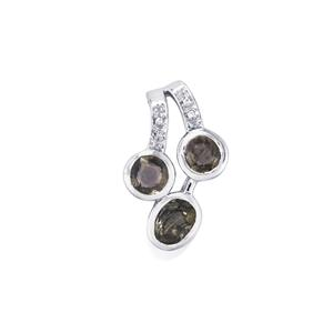 Natural Burmese Spinel & White Zircon Sterling Silver Pendant ATGW 2.45cts