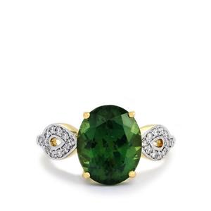 Mandrare Green Apatite & Diamond 14k Gold Tomas Rae Ring ATGW 4.76cts
