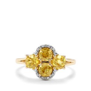 Sambava Sphene & Diamond 9K Gold Ring ATGW 1.67cts