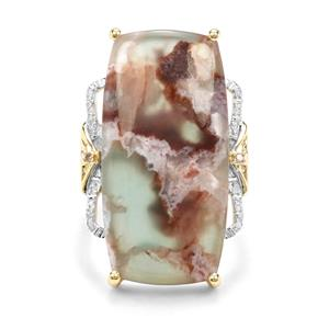 Aquaprase™, Champagne & White Diamond 9K Gold Ring ATGW 19.89cts