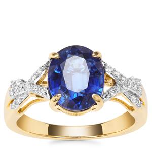 Nilamani Ring with Diamond in 18k Gold 3.66cts