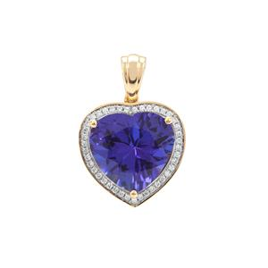 AAA Tanzanite Pendant with Diamond in 18K Gold 8.42cts