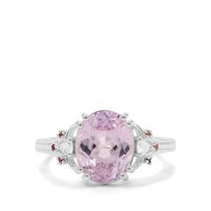 Brazilian Kunzite, Pink Tourmaline & White Zircon Sterling Silver Ring ATGW 4.89cts