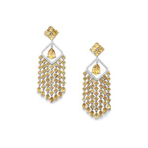 Diamantina Citrine & White Topaz Sterling Silver Earrings ATGW 12.74cts