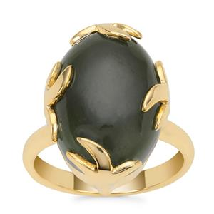 Nephrite Jade Ring in Gold Plated Sterling Silver 13cts