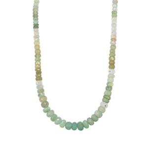 70ct Aquaprase™ Sterling Silver Graduated Bead Necklace