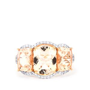 Alto Ligonha Morganite Ring with White Zircon in 9K Rose Gold 5.63cts