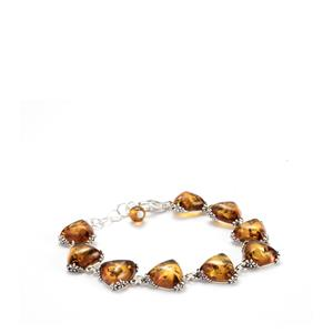 Baltic Cognac Amber Bracelet in Sterling Silver (12x12mm)