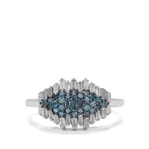 3/4ct Blue & White Diamond Sterling Silver Ring