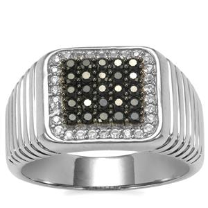 Black Spinel Ring with White Topaz in Sterling Silver 1cts