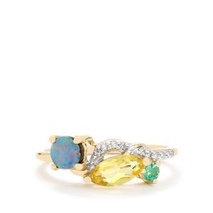 Harlequin & Diamond 9K Gold Ring ATGW 0.61cts