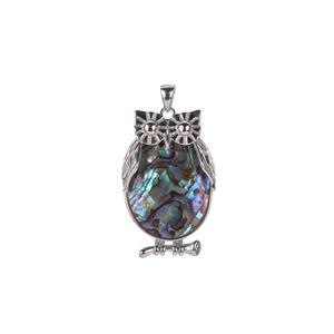 Paua Owl Pendant in Sterling Silver