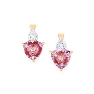 Lehrer KaleidosCut Rose De France Amethyst, Malagasy Ruby & Diamond 10K Rose Gold Earrings ATGW 3.12cts (F)