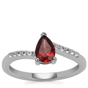 Octavian Garnet Ring with White Topaz in Sterling Silver 0.91cts