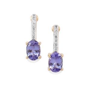AA Tanzanite & Thai Sapphire 9K Gold Earrings ATGW 1.31cts