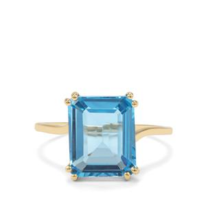 5.21ct Swiss Blue Topaz 9K Gold Ring