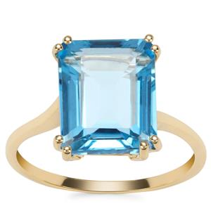 Swiss Blue Topaz Ring in 9K Gold 5.21cts