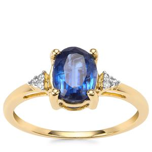 Daha Kyanite Ring with White Zircon in 10K Gold 1.63cts