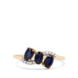 Ceylon Blue Sapphire & White Zircon 9K Gold Ring ATGW 1.12cts