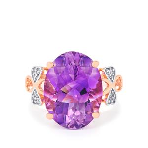 Moroccan Amethyst Ring with White Zircon in 9K Rose Gold 7.78cts
