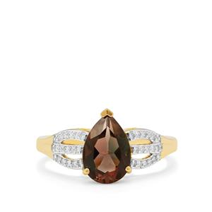 Oregon Sunstone Ring with Diamond in 18K Gold 1.85cts