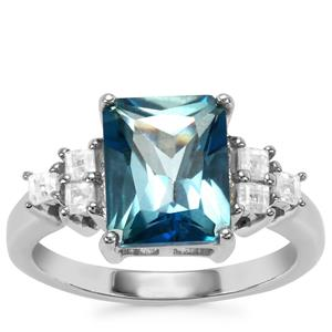 Santa Maria Topaz Ring with White Zircon in Sterling Silver 4.53cts