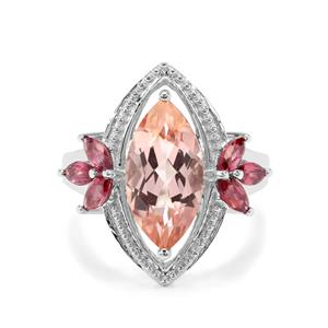 Galileia Topaz & Rajasthan Garnet Sterling Silver Ring ATGW 5.82cts