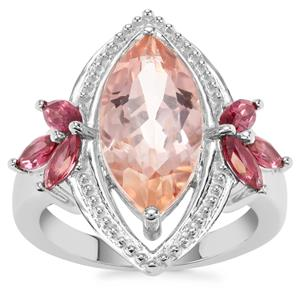 Galileia Topaz Ring with Rajasthan Garnet in Sterling Silver 5.82cts
