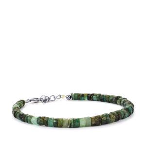 Carnaiba Brazilian Emerald Graduated Bead Bracelet in Sterling Silver 34.41cts