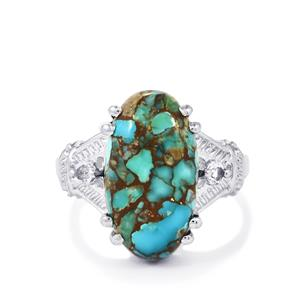 Egyptian Turquoise & White Topaz Sterling Silver Ring ATGW 8.02cts