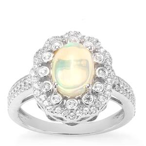 Ethiopian Opal Ring with White Zircon in Sterling Silver 1.70cts