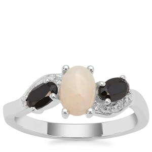 Coober Pedy Semi Black Opal Ring with Black Spinel and White Zircon in Sterling Silver 1.13cts