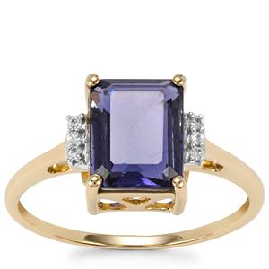Bengal Iolite Ring with White Zircon in 9K Gold 1.78cts
