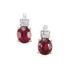 Malawi Garnet Earrings with Diamond in 18K Gold 3.07cts