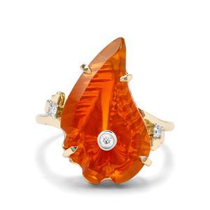 Lehrer Flame Cut Mexican Fire Opal & Diamond 9K Gold Ring ATGW 6.81cts