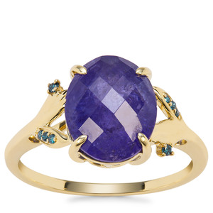 AAA Tanzanite Ring with Blue Diamond in 9K Gold 4.80cts