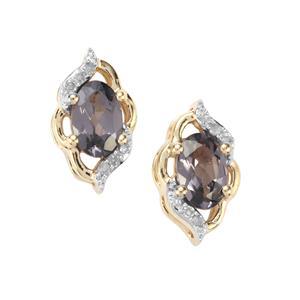 Mahenge Purple Spinel & Diamond 9K Gold Earrings ATGW 0.98cts