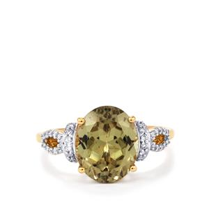 Csarite® & Diamond 18K Gold Lorique Ring MTGW 4.44cts